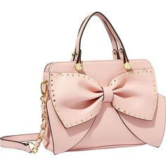 Betsey Johnson Bow Regard Small Satchel ($98) ❤ liked on Polyvore featuring bags, handbags, purses, jewelry, blush, rings, pink bow purse, betsey johnson satchel, pink satchel handbags and chain strap purse