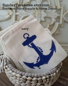 10 Pak NAVY Red ANCHOR 4x6 Muslin Drawstring Favor Candy