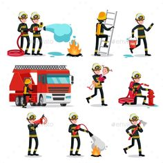Firefighting Colorful Icons Set