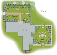 Garden plan: Bordered by a picket fence and bisected by a brick walkway, the front garden welcomes the owners and their visitors, while the back garden offers a place for dining and entertaining. Garden designer: Amy Pallenberg