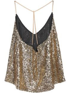 Shop Gold Criss Cross Sequined Cami Top at ROMWE, discover more fashion styles online. Sequin Cami Top, Sequin Tank Tops, Cami Tops, Camisole Top, Diy Clothes Tops, V Neck Tank Top, Elegant Outfit, Cute Summer Outfits, Blouse Designs