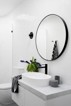 the perfect circular mirror for your bathroom. Black, contemporary and a big statement Photography Martina Gemmola / Interior design GIA Bathrooms and Kitchens Laundry In Bathroom, White Bathroom, Bathroom Faucets, Small Bathroom, Round Bathroom Mirror, Contemporary Bathroom Mirrors, Black Bathrooms, Bathroom Sconce Lighting, Luxury Bathrooms