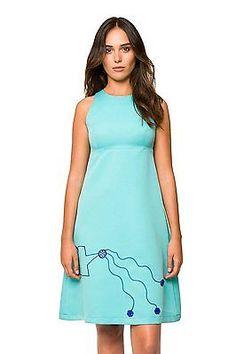 42, Turquoise, Divina Providencia Women's Vestido Yeyé Bordado Turquesa Dressed