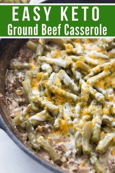 This Keto Ground Beef Casserole is the perfect comfort low carb meal. Easy to make and hearty, you'll love every single bite of this delicious simple keto recipe. with ground beef dinner Keto Ground Beef Casserole: Perfect Comfort Dish Low Carb Chicken Casserole, Beef Casserole Recipes, Ground Beef Casserole, Green Bean Casserole, Skillet Chicken, Keto Chicken, Chicken Philly, Keto Casserole, Breakfast Casserole