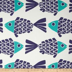 P Kaufmann Indoor/Outdoor Go Fish Blue Marine | Fabric for Fisher's bandanas haha | LFF Designs | www.facebook.com/LFFdesigns