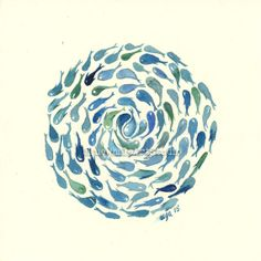 Hypnotic Circle  Original Watercolor by BlueWhaleArtStudio on Etsy, $10.00