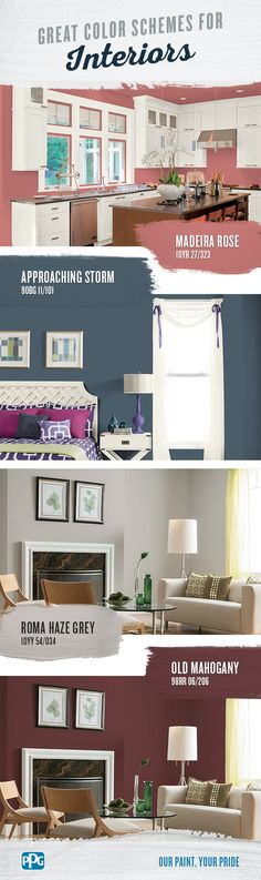 Great Color Schemes for Interiors |  Choosing paint colors for your home, especially interior paint colors, can be difficult given the hundreds of choices available. Read this article for interior paint color inspiration.