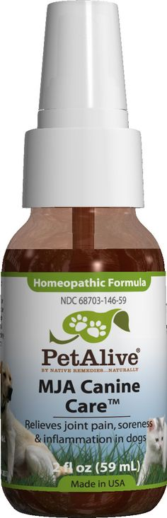 MJA Canine Care™ - Homeopathic remedy temporarily relieves minor muscle and joint soreness, and pain in dogs