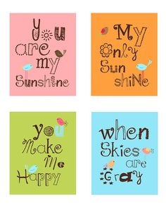 You are my sunshine Nursery Wall ArtSet of Four  by LittlePergola, $55.00