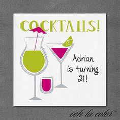 """Let's Celebrate! Cocktail Party Napkins   Brightly colored cocktails are shown on these ooh la color™ napkins.  Dimensions: 4 3/4"""" x 4 3/4"""" Beverage Napkin Dimensions: 6 1/2"""" x 6 1/2"""" Luncheon Napkin• Price Includes: Printed napkin • Production Time: 2 Working Days"""