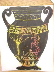 Miss Oetken's scratchtastic Greek Vase with Achilles from Greek Mythology We've moved on in our art history time line to Greek and Roma...