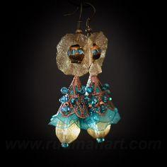 Vintage look OliveTurquoise earrings Art Nuvo by RudmanArt on Etsy, $25.00