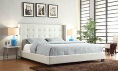 Madison Queen Tufted Bed with Tapered Wings in White Solid Wood Furniture, Sofa Furniture, Tufted Bed, Tufted Headboards, Modular Design, Bedroom Colors, Custom Homes, Master Bedroom, Room Decor