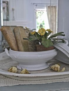 gorgeous and simple...love it.  via Chateau Chic - Vintage Books in Ironstone Compote