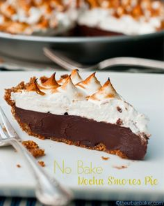 "#Gluten Free ""No Bake"" Mocha S'mores Pie - One slice is all one needs! 