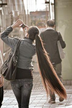 cheveux tres long en queue de cheval
