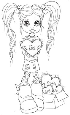 sherri baldy coloring pages Colouring Pics, Coloring Book Pages, Coloring Pages For Kids, Coloring Sheets, Anne Geddes, Copics, Big Eyes, Large Eyes, Digital Stamps