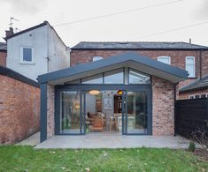Light filled asymmetric extension, brick with aluminium accents to the exterior 1930s House Extension, Brick Extension, Orangery Extension, House Extension Plans, House Extension Design, Extension Designs, Rear Extension, Extension Ideas, Building An Extension
