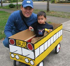 Give the kids a ride in a #wagon dressed up like a #school #bus. :)    {Could also be a Halloween costume.}