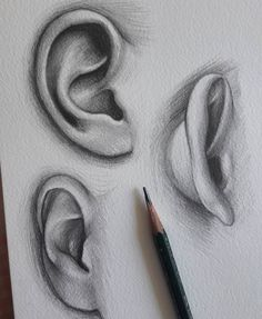 Ear drawing art in 2019 draw, pencil art, art sketches. Pencil Art Drawings, Art Drawings Sketches, Realistic Drawings, Easy Drawings, Realistic Eye, Pencil Sketching, Sketch Drawing, Anatomy Drawing, Drawing Eyes