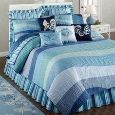 Ocean Wave Cotton Quilt Bedding I HAVE THIS ENTIRE BEDDING LINE FOR A QUEEN BED IN MY OCEAN-WATER THEMED BEDROOM.  IT IS ALL GORGEOUS !!!