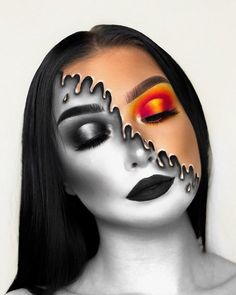 50 halloween makeup ideas you will love halloween make up ideen neue ideen Fire Makeup, Makeup Eye Looks, Crazy Makeup, Makeup Trends, Makeup Inspo, Makeup Ideas, Makeup Tutorials, Makeup Designs, Amazing Halloween Makeup