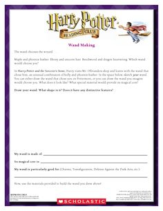 September MAKE YOUR OWN WAND: Craft your very own wand!  Download by clicking image above!  For more activities visit www.scholastic.com/hpread #HarryPotter #HPread