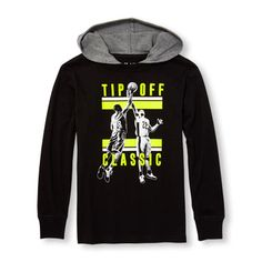 Boys Long Sleeve Hooded Graphic Top
