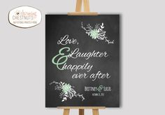 Chalkboard Wedding Sign, Love laughter and happily ever after, Wedding welcome sign, Chalkboard welcome sign, Mint wedding, Floral wedding