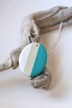 Ceramic Pendant Striped Grey White and Aqua by SilverburnStudios, €28.00