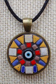 Handmade mosaic tile pendant / necklace by NikkiSullivanMosaics, $37.50