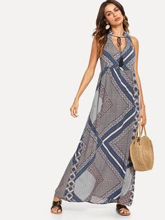 f5bfd8d48a6 Geometric Print Fringe Knot Dress