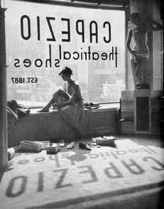 Lisa Larsen C 1949, 'Fitting shoes', at Capezio Theatrical Shoes, New York, the shadow on the floor is cool