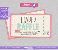Arrow Diaper Raffle Tickets Coral Mint Chevron by ZoeyBlueDesigns