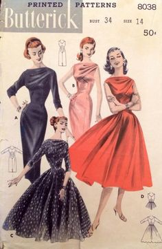 1950's Vintage Draped Bodice Deep V Wiggle Dress Butterick Sewing Pattern #8038