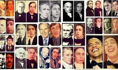 Student poses as all the American presidents for yearbook spread.  Cool!