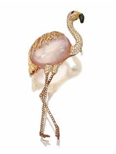 Rose Quartz and Diamond Flamingo Brooch