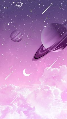 Purple Wallpaper Universe by Gocase purple purple planets planets clouds clouds shooting star Saturn Neptune Jupiter earth trip travel galaxy gocase lovegocase # stars Cartoon Wallpaper, Space Phone Wallpaper, Wallpaper Pastel, Planets Wallpaper, Iphone Background Wallpaper, Aesthetic Pastel Wallpaper, Kawaii Wallpaper, Nature Wallpaper, Cool Wallpaper