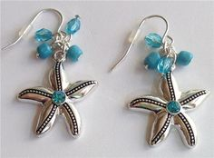 Silver Starfish Pierced Earrings Dangle Jeweled Bead White Aqua Clear USA Seller #Alexandra #DropDangle
