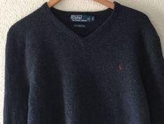 f6a65abd0 Polo Ralph Lauren Mens L 100% Italian Wool V Neck Long Sleeves Sweater Gray