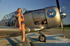 style pin-up girl sitting on the wing of a World War II Texan Poster Print Pin Up Girls, Fly Girls, Image Avion, Pin Up Girl Vintage, Retro Pin Up, Military Pins, Old Planes, Airplane Art, Airplane Room