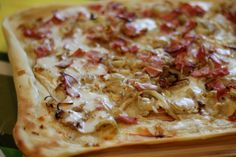 Recipe for Tarte Flambée, a traditional Alsatian dish is kind of similar to pizza