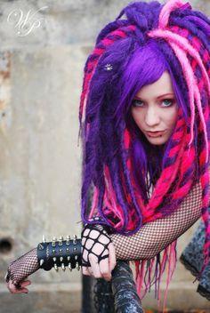 Cyber goth Cheshire colored dreadfalls