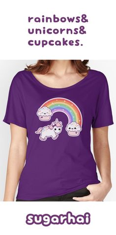 Rainbows, and unicorns, and cupcakes t-shirts. The perfect combination. Click to see all colorways.