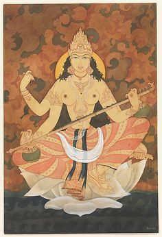 Saraswati, Goddess of Learning and Music, Playing a Vina, 1947-48, Y G Srimati; the divine personification of the now-lost Indian river, the Saraswati. (Metropolitan Museum of Art)