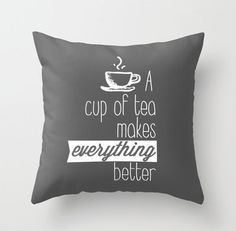 A cup of tea decorative throw pillows cover home decor ornament and decoration housewares via Etsy