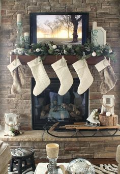 Christmas Mantel ~ White and Faux Fur Stockings and an Antique Sled