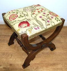 Gothic revival inlaid x frame oak stool with carved Tudor rose roundels in Morris & co fabric - Sold by The Sitting Place Tudor Rose, Antiques For Sale, Gothic, Stool, Desk Chair, Carving, Linen Fabric, My Room, Frame