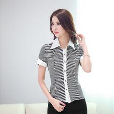 Elegantes blusas de manga larga rayadas