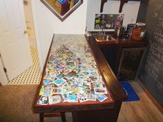 Custom bar top we made. Laid down childhood baseball cards down then ordered a & Old baseball cards incorporated into the bar top. by Thomas Homes ... Aboutintivar.Com